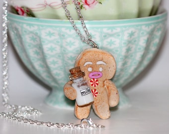 Milk and Cookie Necklace -  Gingerbread Man Necklace -  Christmas Necklace