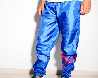 Vintage 90's style men's festival shell pants in blue | Old school retro style sports track trousers | Size - M