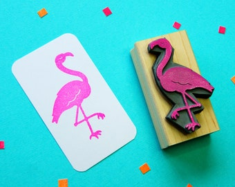 Fancy Flamingo Rubber Stamp - Bird Rubber Stamp  - Tropical Rubber Stamp - Tropical Stationery - Tropical Wedding - Pink Flamingo