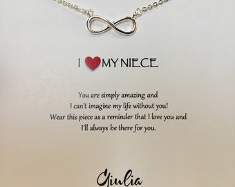 Infinity sign necklace Gold Heart niece gift necklace gift for niece - niece jewelry - niece necklace - charm necklace