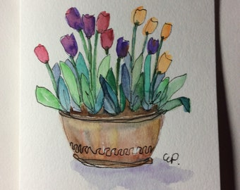 A Dozen Tulips in Pot Watercolor Card / Hand Painted Watercolor Card
