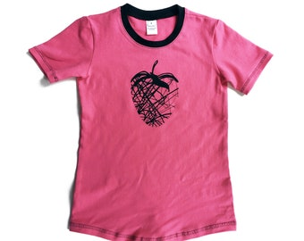 KIDS short sleeve t-shirt in pink with black collar and strawberry print in black