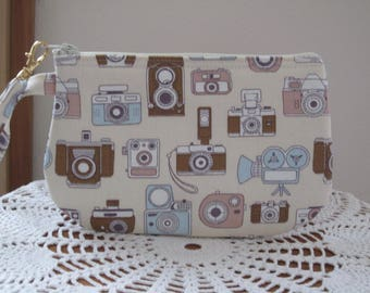Vintage Camera Bag, Small Camera Clutch, Camera Wristlet, Zipper Gadget Pouch, Camera Bag