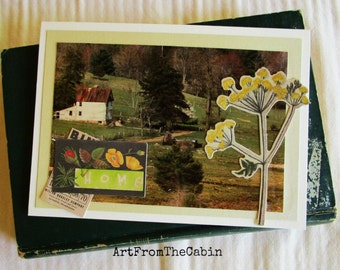 Old Home Photo Card, Housewarming Card, Old Homeplace, Summer Landscape, Woodland, Yellow Wildflower, Blue Ridge Parkway, Virginia
