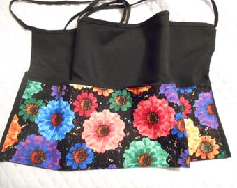 20 Bright Flowers Black 3 Pocket Waitress Aprons with Crown and Names