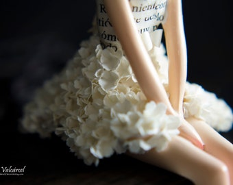 Miniature Doll with tiny paper flowers skirt - Art Doll - Fairy - Paper Art