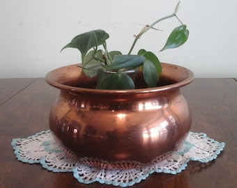 Vintage, copper pot or planter.