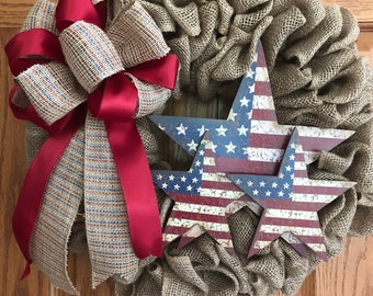 Patriotic, RED WHITE & BLUE, Memorial Day, 4th of July burlap wreath
