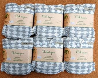 6 pc Hemp organic cotton cloth diaper pack + merino wool cover / cloth nappy set / Handmade Lithuanian / organic cotton