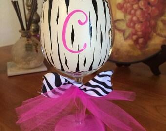 Hot Pink Zebra initial wine glass