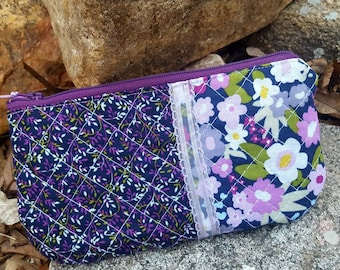 Purple & Green Quilted Cosmetic Bag, Zipper Bag, Plum Makeup Bag, Floral Cosmetic Bag, Quilted Organizer, Purple Zipper Bag