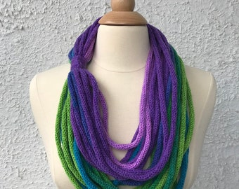 Knitted Womens Scarf Neckwarmer Necklace Light and Simple Teal Turquiose Green and Purple