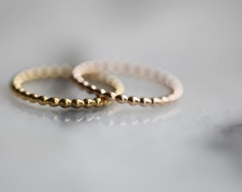 Beaded. Gold Vermeil beaded wire ring . Stacking ring