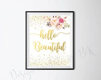 Nursery Wall Art, Kids Wall Art, Hello Beautiful, Nursery Wall Decor, Baby Room Decor, Coral Nursery, Blush Nursery, Pink Nursery, Download