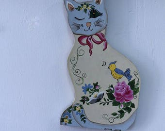 Cute Sweet Hand Painted Home Decor Folk Art Cat Wall Art