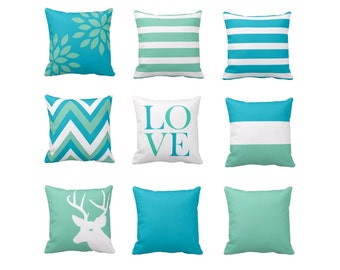 Couch Pillow Covers, Sofa pillows, decorative pillow covers, scuba blue pillow covers, lucite green pillow covers, deer, love, stripes