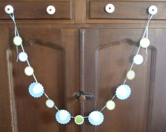 Paper Garland Spring Gingham Lime Polka Dots Sky Blue 4 Feet Long