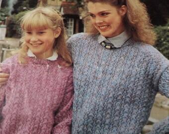 "Knitting Pattern Women Ladies Girls Round Neck Jumper Lacy Detail 26-40"" Vintage"