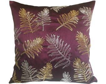 Plum Pillow Cover, Leaf Embroidery Pillow Cover