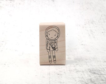 The Astronaut Girl - Childrens Astronaut & Astronomy Stamp - Sci- Fi Pen Pal Stationary - STEAM and STEM Stamp