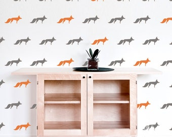 Fox Wall Decal / 54 Foxes Sticker / Modern Wall Decal / Kids Wall Decoration /  Nursery Wall Decal / gift