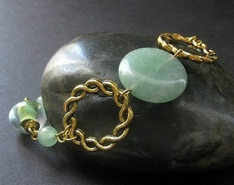 Aventurine and Lampwork Glass Bracelet in Gold. Handmade Jewelry by Gilliauna
