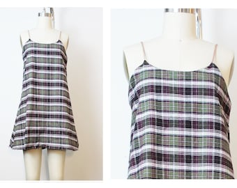 Olive Plum Plaid Flannel Grunge Cami Dress 90s Inspired Vintage Deadstock Fabric Small XS