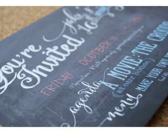 Chalkboard Party Invitations - Chalkboard Lettering Party Invitation - Chalkboard - Hand Lettering - Tween Invitation - Printable Invite