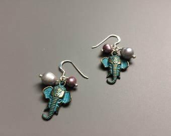 Elephant Earrings, Elephant Gifts, Turquoise Elephant Dangle Earrings, Animal Jewelry, Animal Earrings, Animal Dangles, Valentines Gift