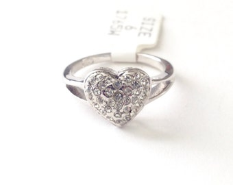 Vintage 18K Electroplated Pave Heart Rhinestone Ring Size 4-7