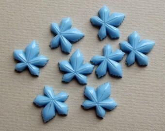Vintage pale blue floral leaf cabochons