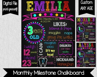 Girl's Monthly Milestone Chalkboard - 3 Months Old - Any Age - 6 Months Old - Milestones - Monthly Photo Props - Baby's Milestone Signs