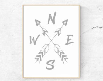 Typography Compass, Cardinal Directions, North. South. East, West, Compass Art, Nursery Print, Arrow Art Print, Boho Compass,