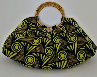 "African Wax Print Purse, Blue, Mustard and Yellow Medium Sized Purse, African Fabric Tote with  6"" Bamboo Handles"