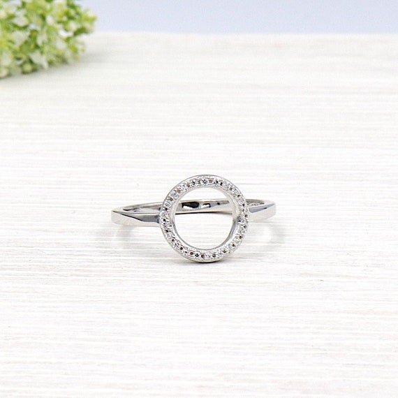 ring Silver 925 round covered with cubic zirconias for woman