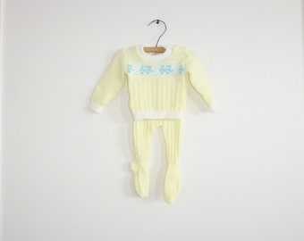 Vintage Yellow Knit Baby Outfit