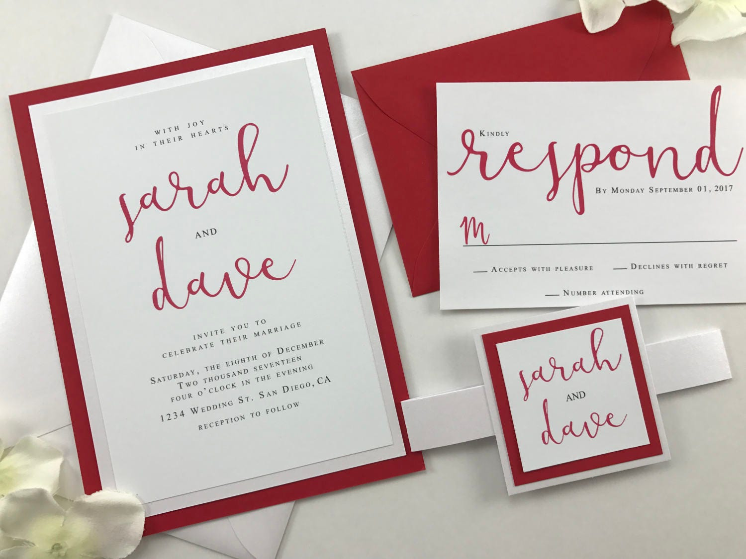 Ruby Red and Pearl Elegant Classic Script Font Wedding