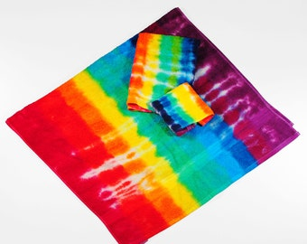 Tie Dye Bath Towel Set, Rainbow Stripe