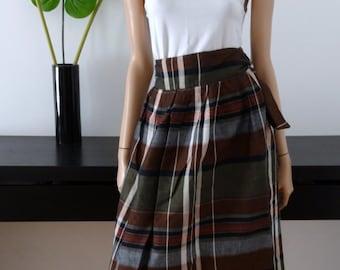 SHERRY black/khaki/brown/white Plaid high waist wrap skirt size 36/size 8 uk / us 4