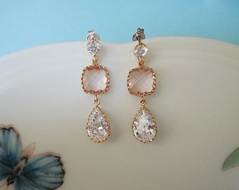Peach square glass and teardrop clear zirconia stone scallope setting cubic post earring wedding bridemaids
