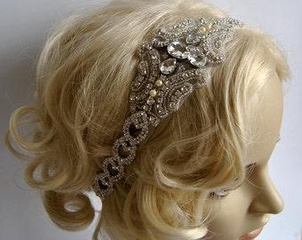 Rhinestone 1920s Headpiece,Flapper Headpiece,bridal headband piece, Rhinestone bridal beaded headpiece,The Great Gatsby Headband