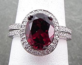 AAA Pyrope Garnet   10x8mm  3.29 Carats   in 14K White gold diamond bridal set(.50ct) 0966 B108