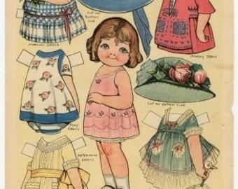 E-Pattern Vintage Dolly Dingle Paper Doll And Cross Stitch Pattern 6