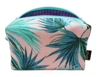 Zebra Fan Printed Blush Makeup Bag Fully Lined