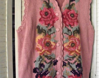 Floral Sweater Vest/ Embroidered Pink Vest/ Eagle's Eye Sweater/ Retro Thrift/ Chic and Romantic/ 80's Vest/ Thrift Chic/ Shabbyfab Funwear