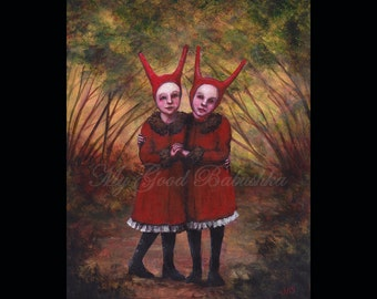 Two Devils, Original Painting, Children, Red Coats, Fairy Tale, Folk Tale, Costumes, Forest, Autumn, Surreal, Storybook Art, Demons, Girls