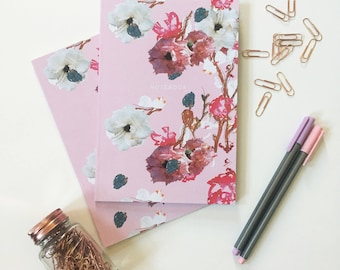 Pink Floral A5 Notebook with lined pages, floral notepad, pink floral stationery, gifts for her, best friend gift, recycled exercise book