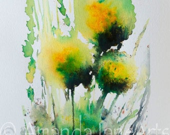 Dandelion , watercolour, original painting, nature, flower