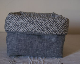 Fabric basket Organizer padded denim and blue diamonds