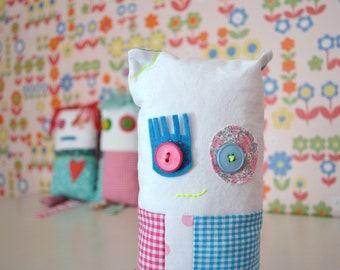 patchwork cushion doll - bright decorative cushion doll - bright colours - fun soft toy - nursery decor - monster doll - teen mascotte